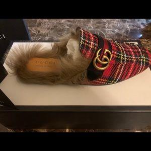 Brand New Gucci Princetown Tartan fur slippers